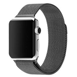 38 mm Apple Watch Milanaise Edelstahl Armband Magnet-Verschluss Luxus Uhrenband Strap Genius Stainless Steel Basic / Sport / Edition - Keine Schnalle benötigt - in Schwarz von OKCS® - 1