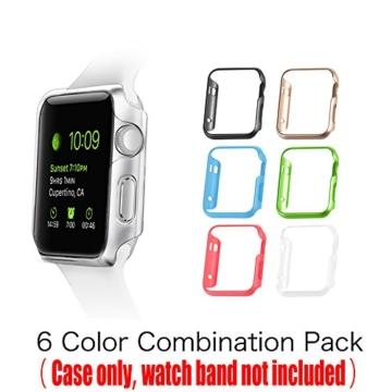 [6 Farbe Packung] Apple Watch Hülle, Fintie [Ultra-Dünn] Leichte Hochwertige Polycarbonat Harte Schutz Gehaüse Abdeckung für Apple Watch (2015), 42mm - 2