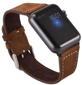 Apple Watch ECHT Leder Armband Uhrenband mit passendem schwarzem Uhrenadapter Connector Watch Adapter Wildleder Erstatzband Strap Genuine 38 mm Basic, Sport, Edition - in Braun von OKCS - 1