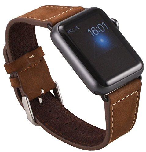 Apple Watch Okcs Echt Leder Armband Mit Schwarzem Uhrenadapt