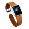 Jisoncase KLASSISCH Apple Watch 42 mm ECHTLEDER Armband mit hochwertigem Edelstahl Adapter Uhrenarmband in braun JS-AW4-06A20 - 1