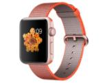 Apple Watch 2, 42 mm, Aluminiumgehäuse roségold, Nylon Armband orange/anthr.