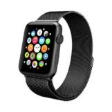 Apple Watch Armband 42mm, Swees Milanese Loop Edelstahl Replacement Wrist Strap Band Uhrenarmband mit Einzigartige Magnet-Verschluss für Apple Watch 42mm Series 2 / Series 1 [No Buckle benötigt] - Schwarz -
