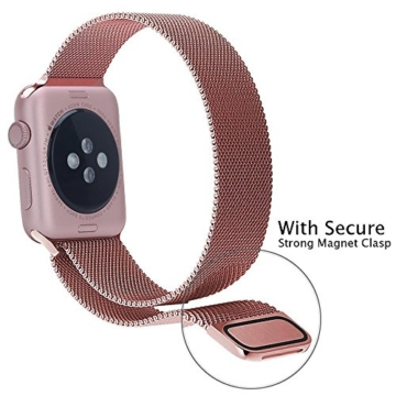 Apple Watch Replacement Strap, PUGO TOP 38mm Edelstahl Magnetic Buckle Armband für Apple-Watch / Uhr-Sport / Ruhr Edition, (Rose Gold With PC Plated case 38mm) -