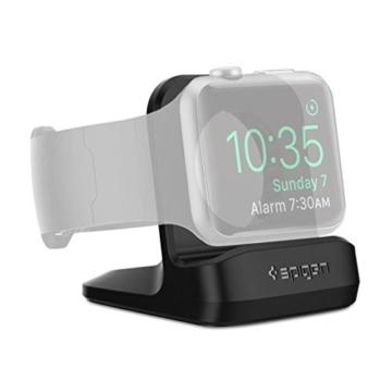 Apple Watch Ladestation, Spige [Prämie TPU][Kompatibel zum Nachtmodus] [WatchOS 2] für Apple Watch Series 1 / Series 2 / 42mm / 38mm, Apple Watch (2015), Apple Watch 2(2016), Apple Watch Sports, Apple Watch Stand , Apple Watch 2 Halterung – S350 Black -