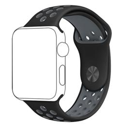 Apple Watch Uhrenarmband, ZRO Weiche Silikon Nike+ Sport Band Ersatz Armband für Neue Apple iWatch Serie 2/ Serie 1 38mm S/M, Schwarz/Grau -