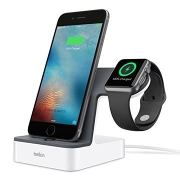 Belkin PowerHouse Ladestation (mfi zertifiziert, geeignet für Apple Watch Series 1 und Series 2 und iPhone 5, iPhone 6/6s/6 Plus/6s Plus, iPhone 7/7 Plus) weiß -