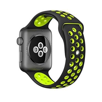 EloBeth For Apple Watch Armband Series 1 Series 2- Sport Smart Watch Silikon Strap Replacement Wrist Band Uhrenarmband Ersatzband Bügel für Apple iWatch/Apple Watch Nike+ (42mm, Schwarz/Gelb) -