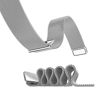 LECASO 38mm Milanese Fully Magnetic Closure Clasp Mesh Loop Stainless Steel iWatch Band Replacement Bracelet Strap for Apple Watch Band All Model 38mm Series 1 and 2 - Silver -