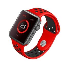 [Style A] Yincol Apple Watch Armband Series 1 Series 2, Fashion Weiches Silikon Sportarmband Ersatzarmband Wrist Band für iwatch 1 iwatch 2 Uhr Verstellbar (Rot, 42mm M/L) -