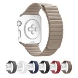 SUNKONG® Lederarmband mit Schlaufe und Magnet-Verschluss Bügel Uhrenarmband für Apple Watch Alle Modelle Kein Buckle Needed (42mm beige) -