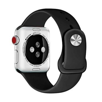 ZRO für Apple Watch Armband, Soft Silikon Ersatz Uhrenarmbänder für 42mm iWatch Serie 3/ Serie 2/ Serie 1, Größe S/M, Schwarz - 2