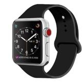 ZRO für Apple Watch Armband, Soft Silikon Ersatz Uhrenarmbänder für 42mm iWatch Serie 3/ Serie 2/ Serie 1, Größe S/M, Schwarz - 1