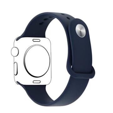 ZRO für Apple Watch Armband, Soft Silikon Ersatz Uhrenarmbänder für 42mm iWatch Serie 3/ Serie 2/ Serie 1, Größe S/M, Mitternacht Blau - 2