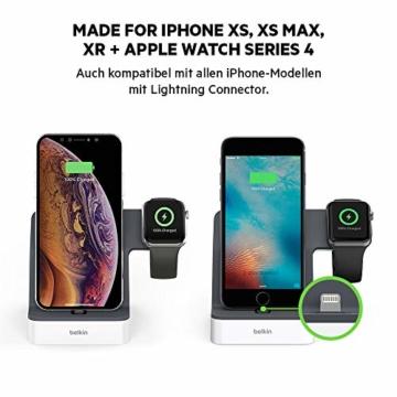 Belkin PowerHouse Ladestation für die Apple Watch und das iPhone (iPhone Ladestation für iPhone12, 12Pro, 12Pro Max, 12 mini und ältere Modelle, Apple Watch Series SE, 6, 5, 4, 3, 2, 1) - Weiß - 2