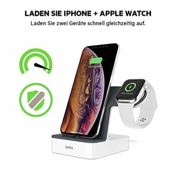 Belkin PowerHouse Ladestation für die Apple Watch und das iPhone (iPhone Ladestation für iPhone12, 12Pro, 12Pro Max, 12 mini und ältere Modelle, Apple Watch Series SE, 6, 5, 4, 3, 2, 1) - Weiß - 3