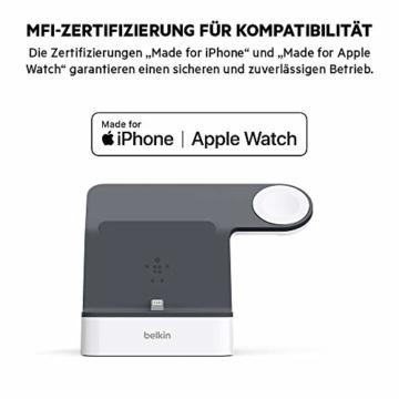 Belkin PowerHouse Ladestation für die Apple Watch und das iPhone (iPhone Ladestation für iPhone12, 12Pro, 12Pro Max, 12 mini und ältere Modelle, Apple Watch Series SE, 6, 5, 4, 3, 2, 1) - Weiß - 4