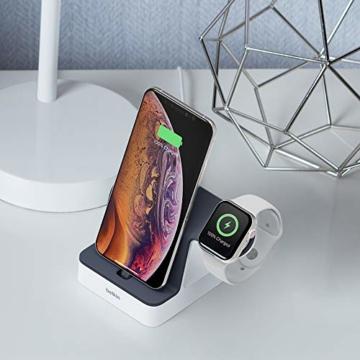 Belkin PowerHouse Ladestation für die Apple Watch und das iPhone (iPhone Ladestation für iPhone12, 12Pro, 12Pro Max, 12 mini und ältere Modelle, Apple Watch Series SE, 6, 5, 4, 3, 2, 1) - Weiß - 6