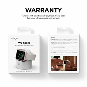 elago W2 Stand Apple Watch Ladestation Ständer Kompatibel mit Apple Watch Series 6, SE (2020) / Series 5 / Series 4 / Series 3 / Series 2 / Series 1 / 44mm / 42mm / 40mm / 38 mm (Weiß) - 5