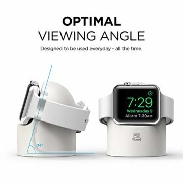 elago W2 Stand Apple Watch Ladestation Ständer Kompatibel mit Apple Watch Series 6, SE (2020) / Series 5 / Series 4 / Series 3 / Series 2 / Series 1 / 44mm / 42mm / 40mm / 38 mm (Weiß) - 6